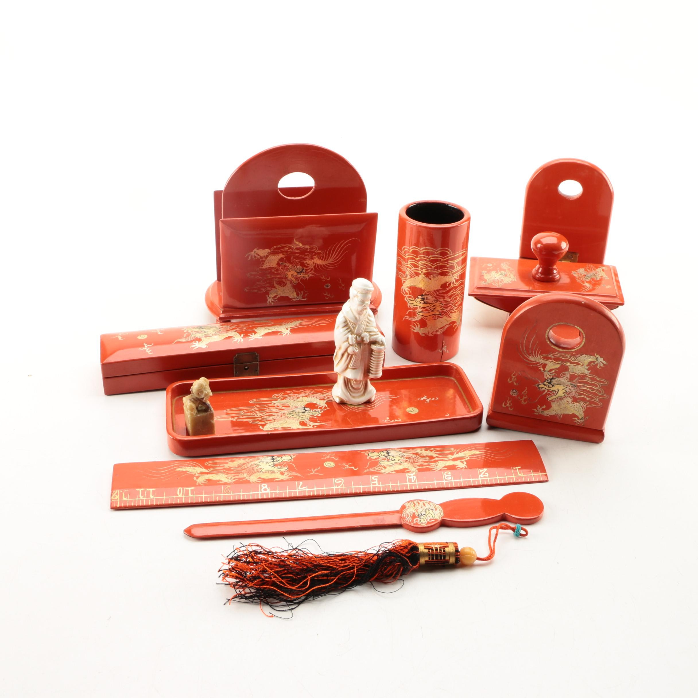 Chinese Lacquer Desk Accessories Ebth
