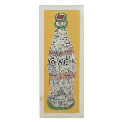 "Howard Finster Offset Lithograph on Paper ""Coke Bottle"""