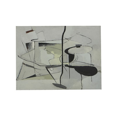 Edwin Zoller Oil Painting on Masonite Abstract Composition