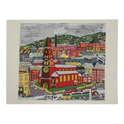 "Kathleen Ferri Serigraph on Paper ""Old Strip District"""
