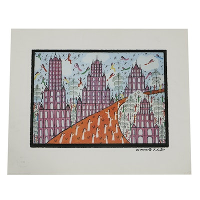 """Howard Finster Offset Lithograph on Paper """"Stairway to Heaven"""""""