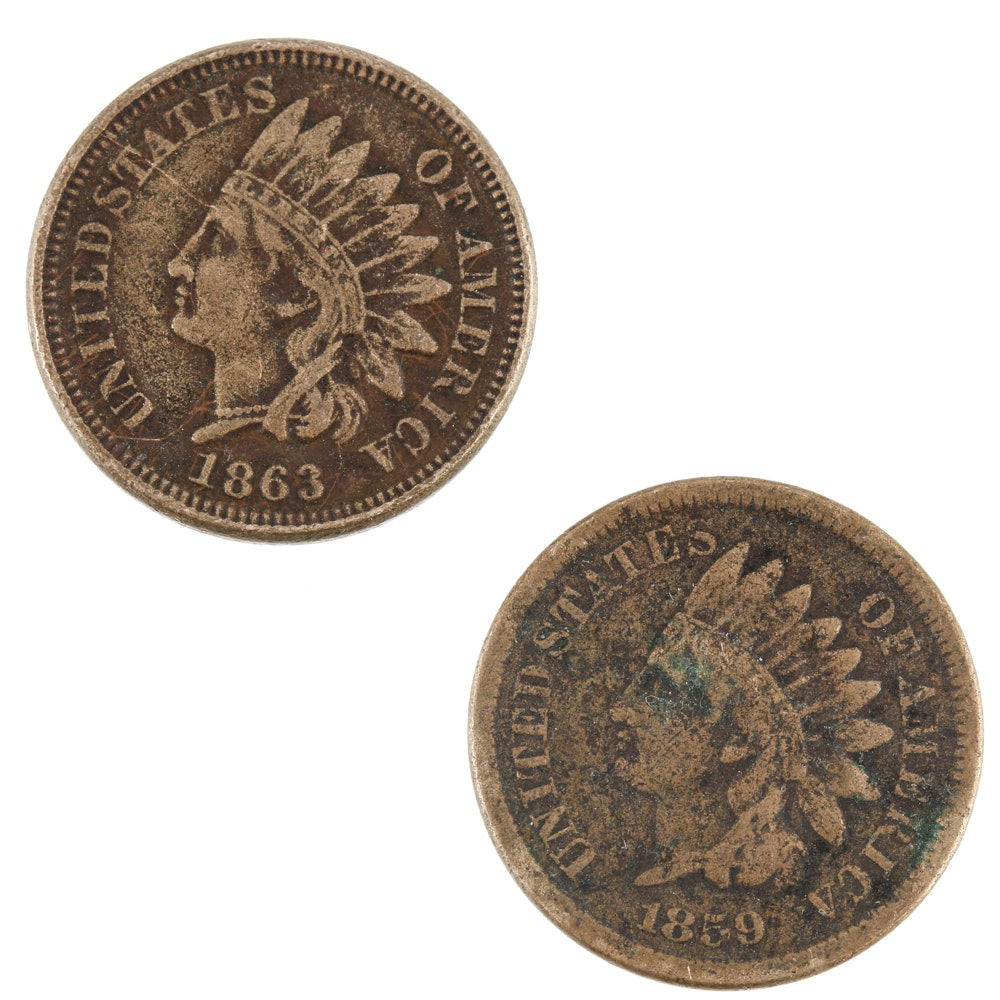 1859 and 1863 Indian Head Cents
