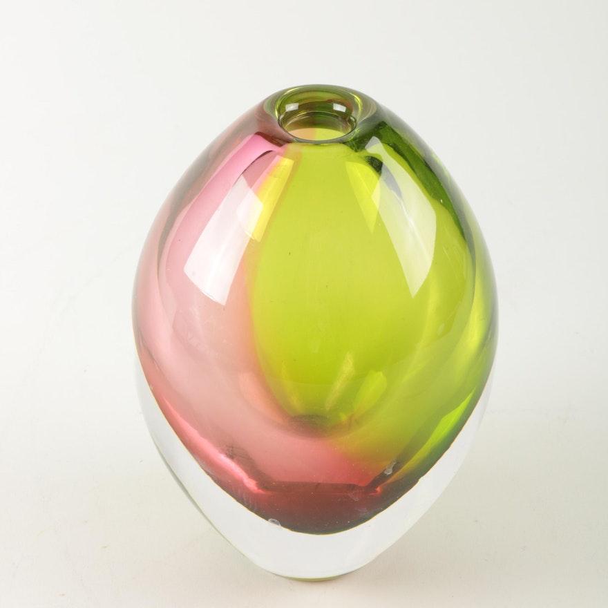 Orrefors Art Glass Crystal Rosebud Vase By Designer Erika
