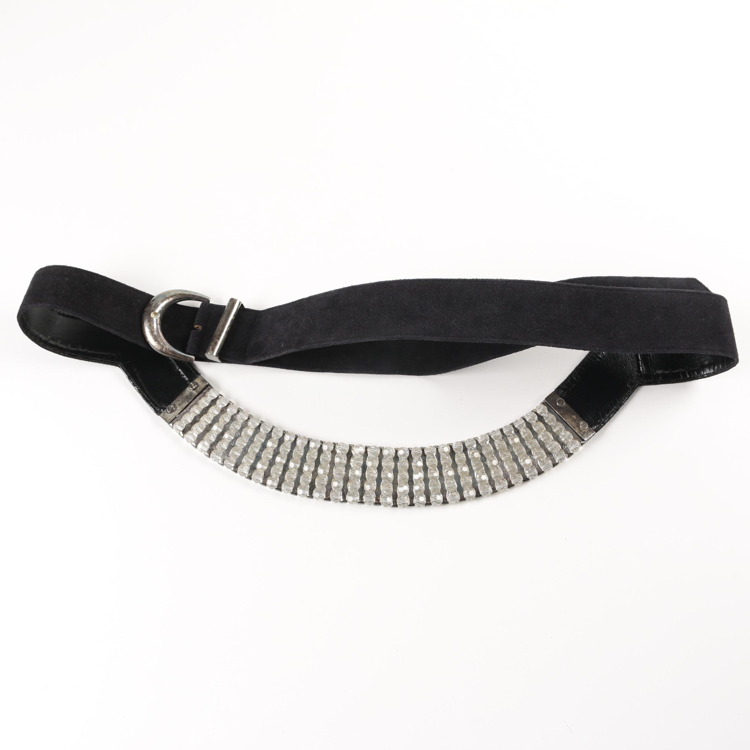 Daniel Swarovski Paris Crystal and Black Leather Belt