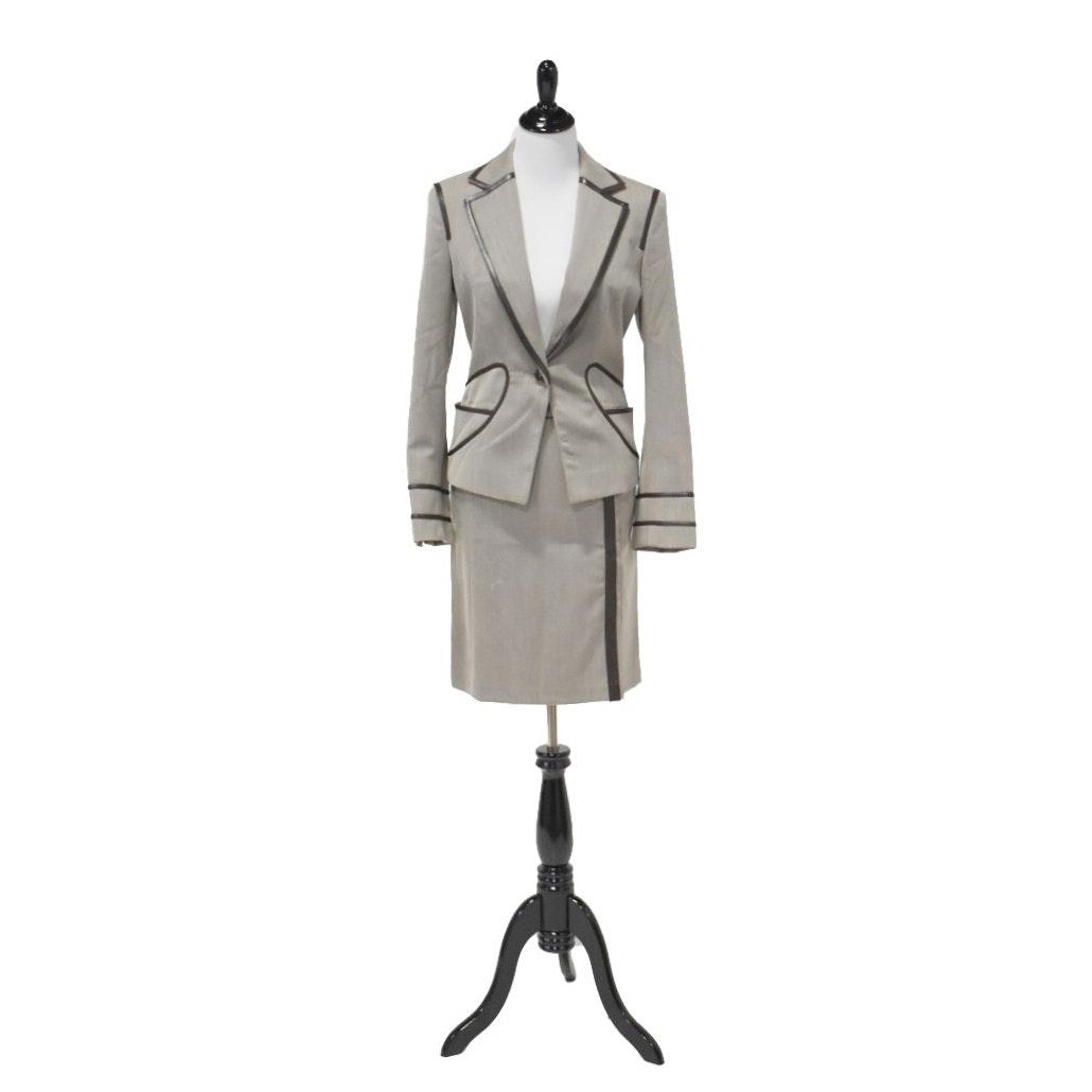 Les Copains Gaberdine Suit with Leather Trim