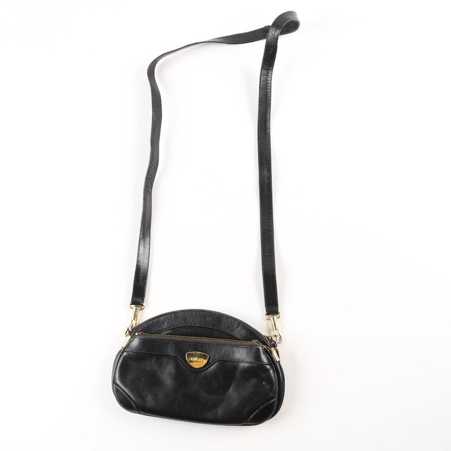 362367c718dbd Vintage Black Leather Gucci Crossbody Bag   EBTH