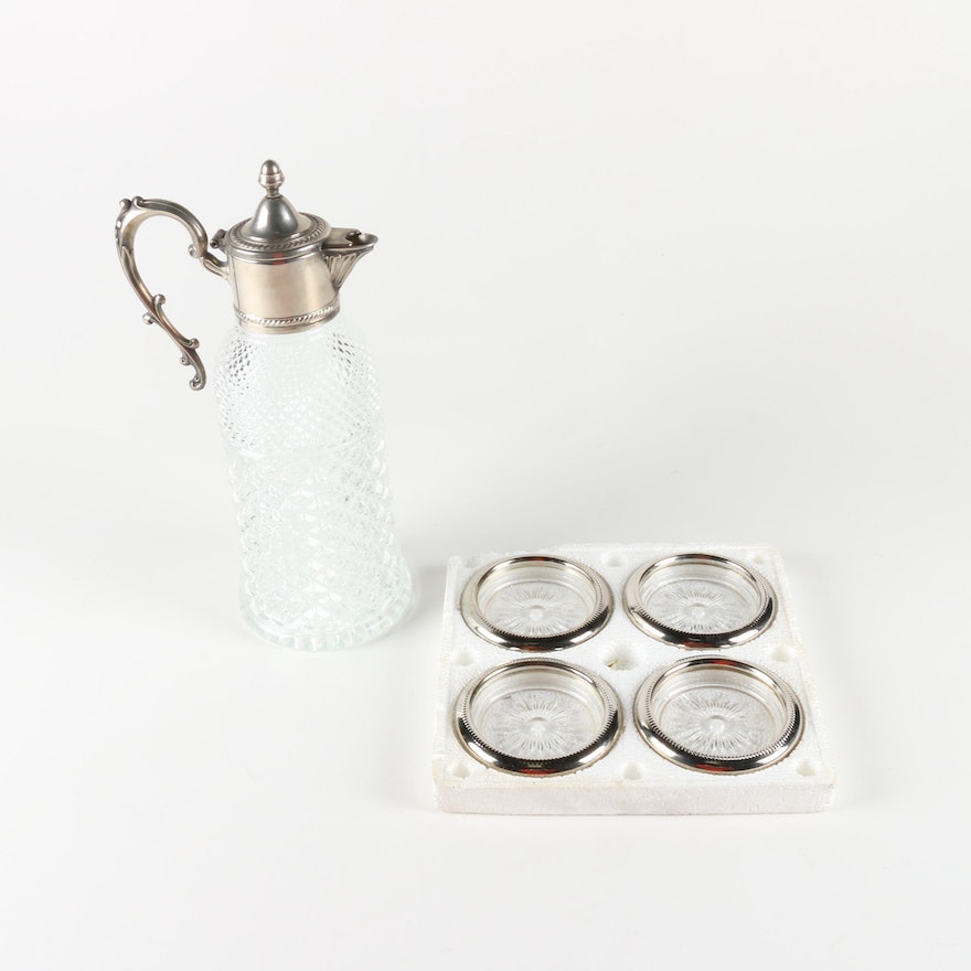 Edwardian Style Silver Plate and Glass Claret Jug with Coasters