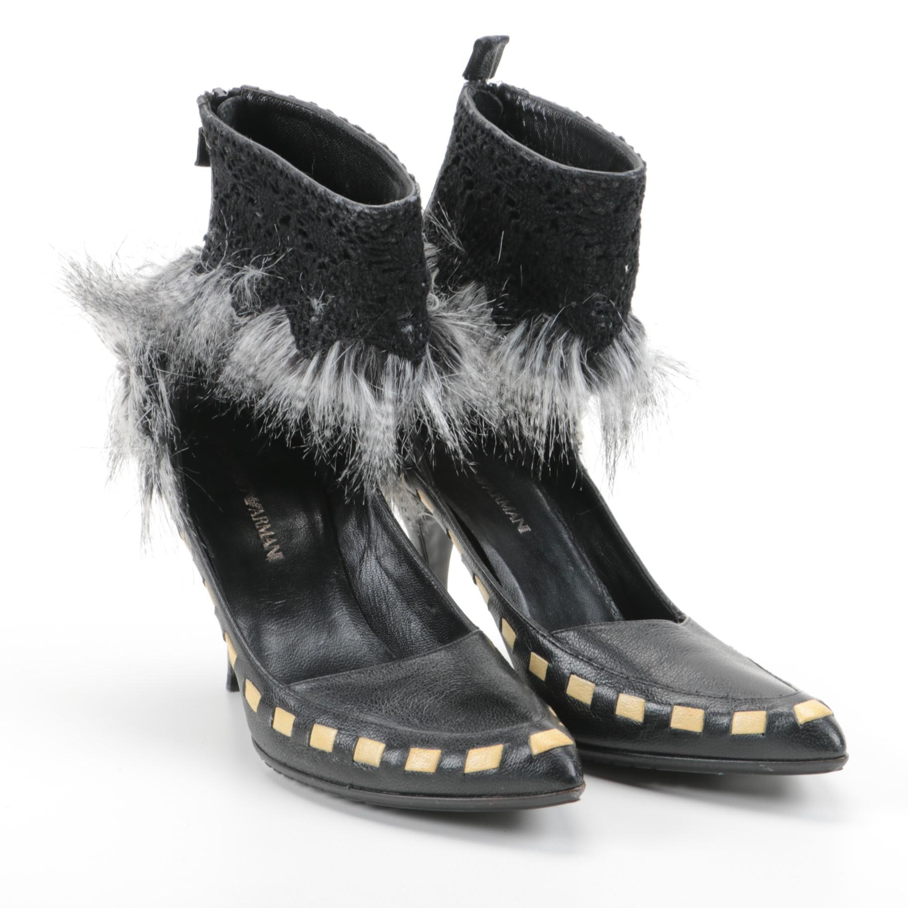Women's Emporio Armani Raccoon Fur Trimmed Heels