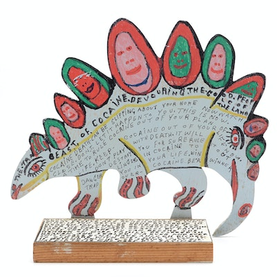"""Howard Finster Oil and Marker on Shaped Wood Sculpture """"Beast of Cocaine"""""""