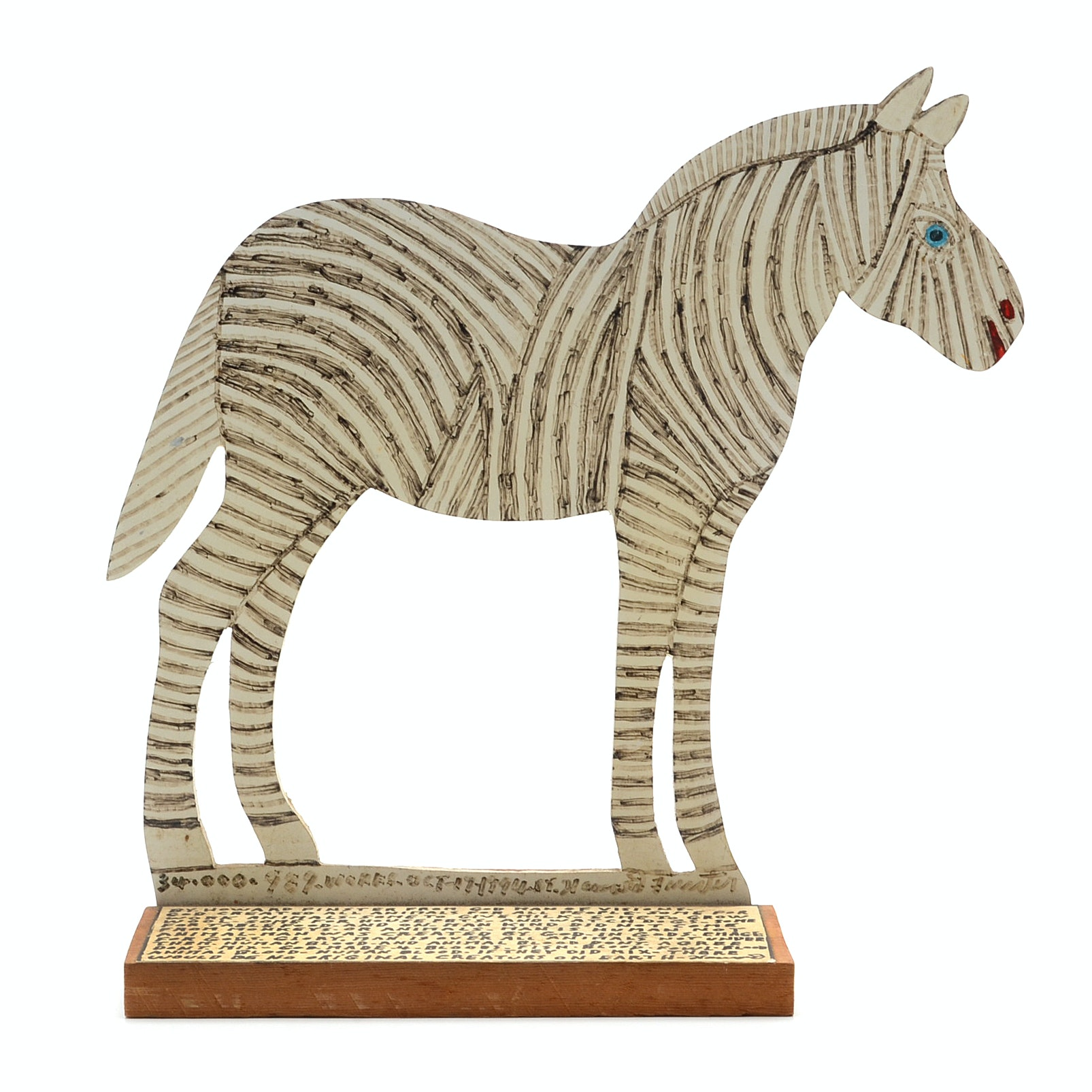 Howard Finster Oil and Marker on Shaped Wood Sculpture of a Zebra