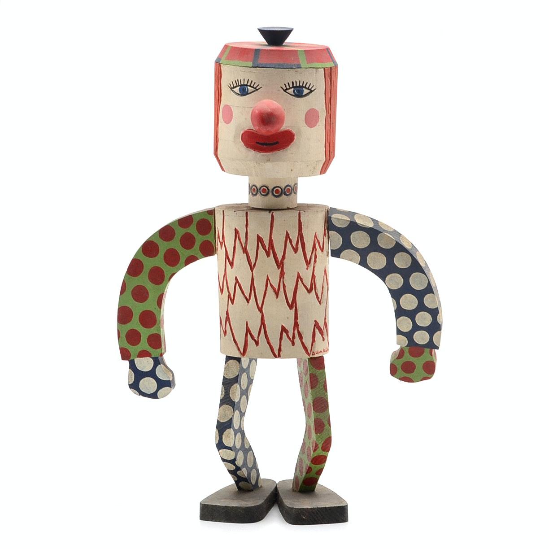 "Kenneth ""Allen"" Wilson Painted Wood Sculpture with Ceramic Head Insert"