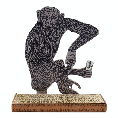 "Howard Finster Oil and Marker on Shaped Wood Sculpture ""Monkey Ba Bo"""
