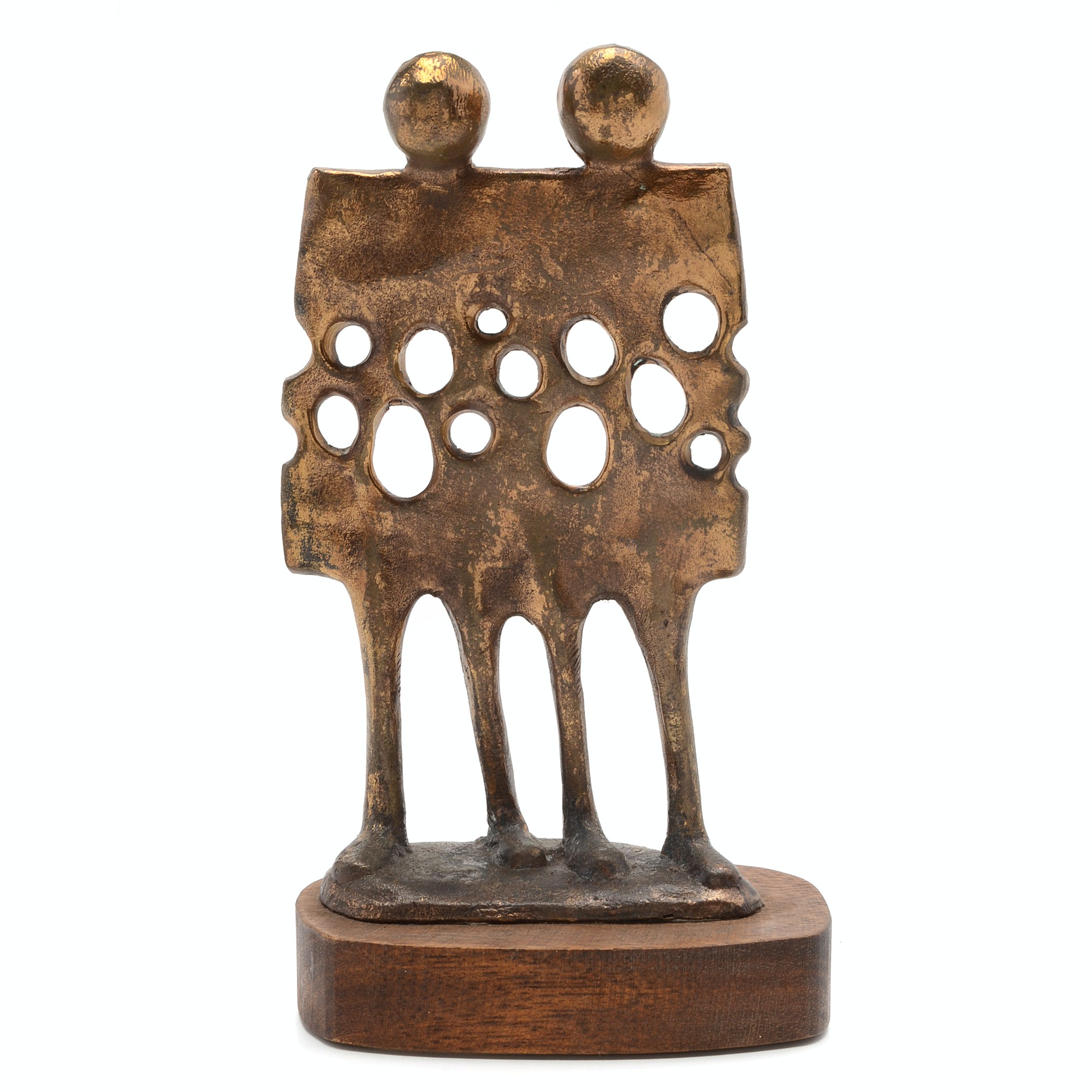 Abstract Bronze Gemini Sculpture