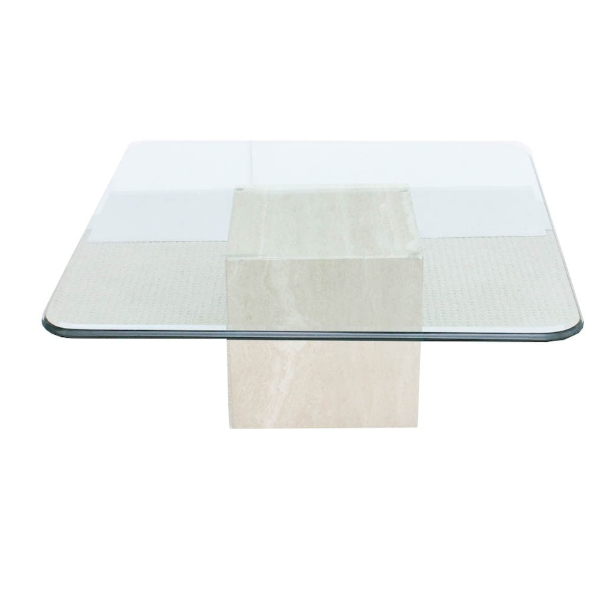 Gl Top Coffee Table With Stone Base