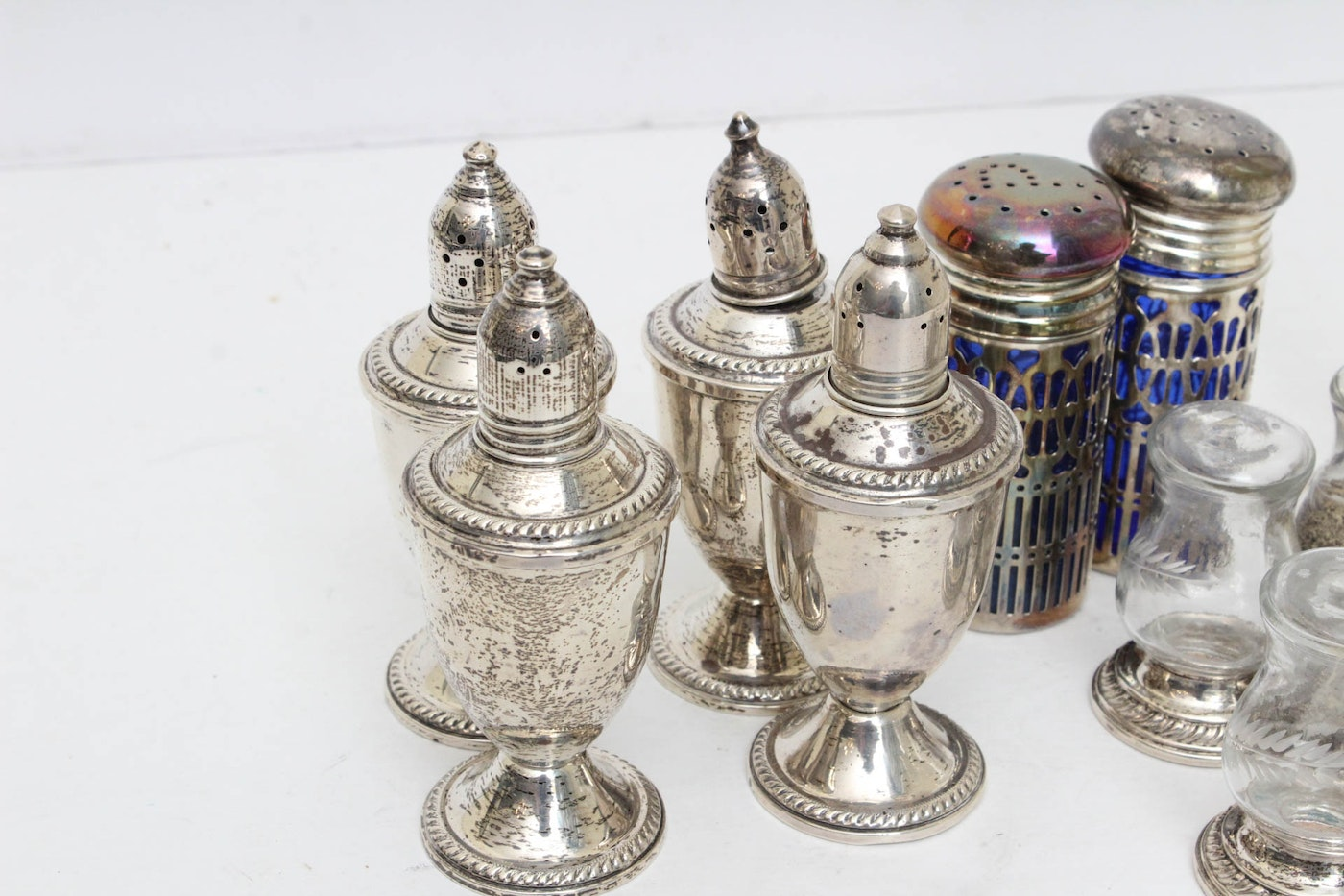 Weighted Sterling Silver And Glass Tableware Decor And