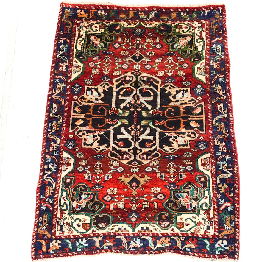 Hand Knotted Indo Persian Obeetee Wool Area Rug Ebth: Semi Antique Hand-Knotted Persian Heriz Area Rug