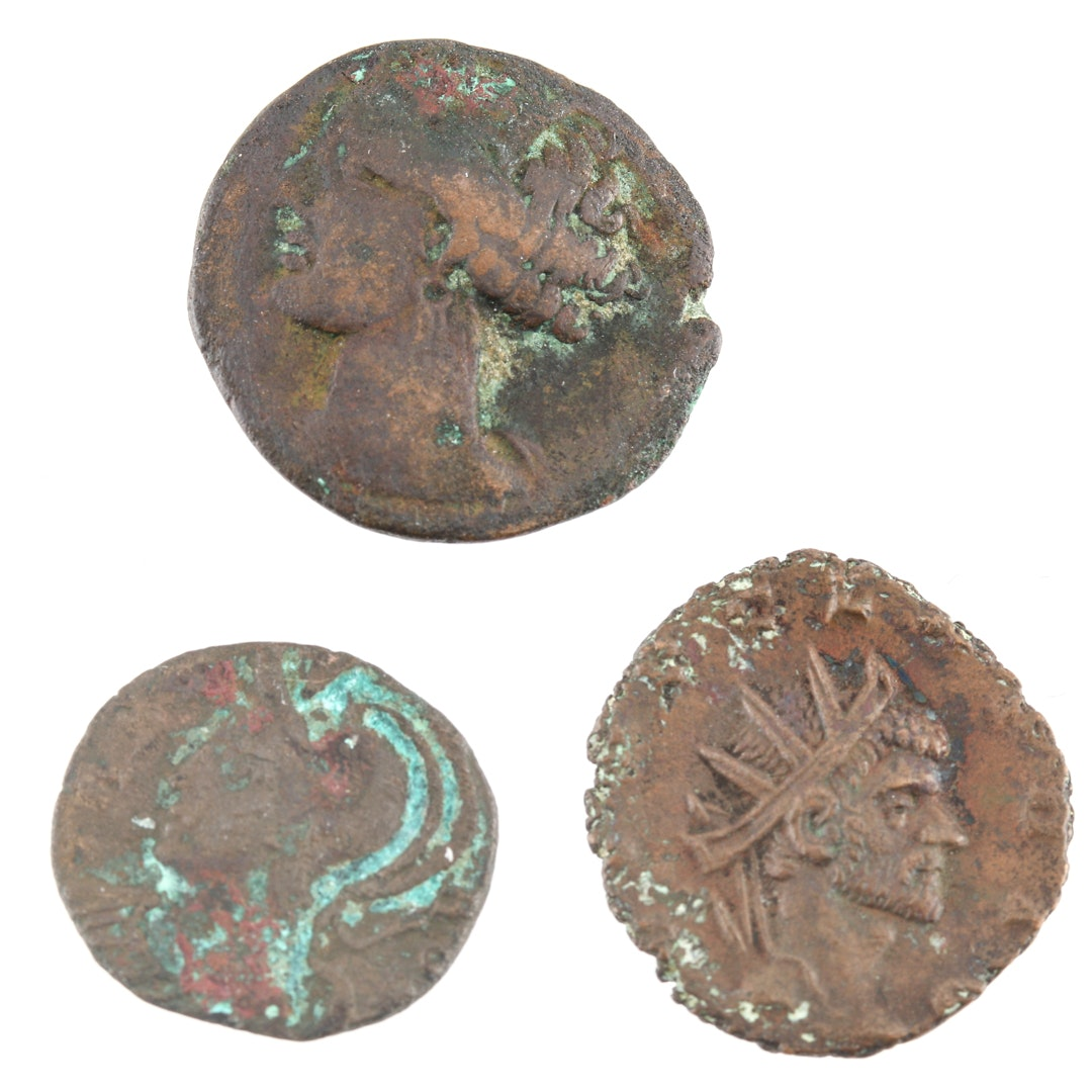 Three Ancient Bronze Coins with Claudius II