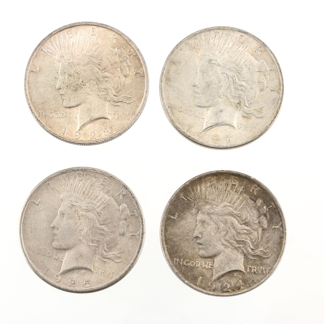 Four Sequential Date Peace Silver Dollars 1922 - 1925