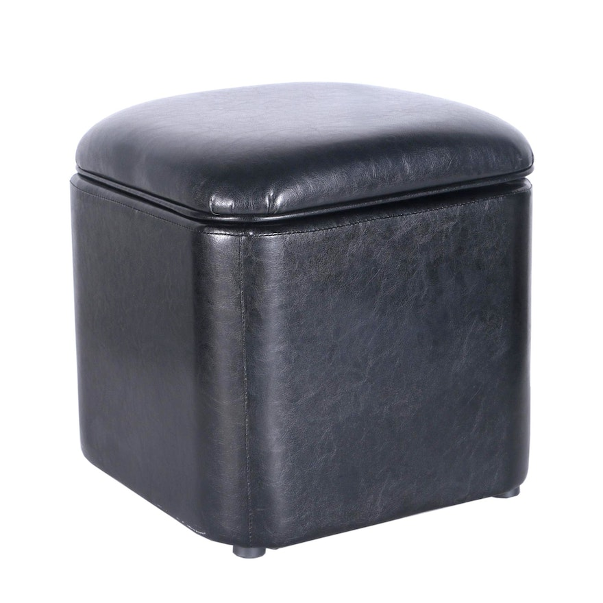 Terrific Black Vinyl Storage Ottoman By Kohls Pdpeps Interior Chair Design Pdpepsorg
