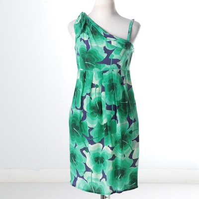 Love Moschino Asymmetrical Shoulder Silk Dress