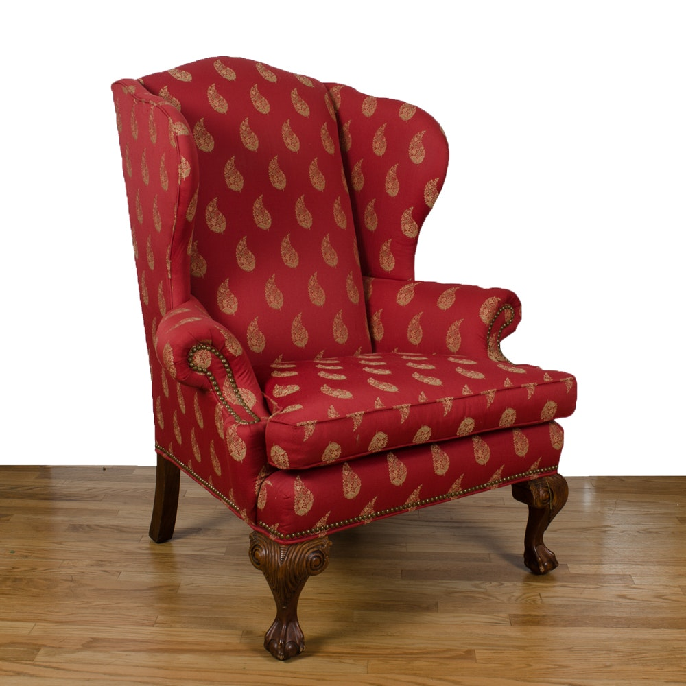 Charmant Chippendale Style Upholstered Wingback Chair By Ethan Allen ...