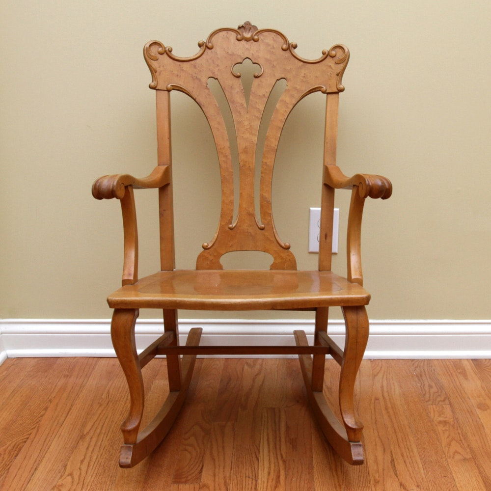 Antique Birdseye Maple Rocker By The Ford U0026 Johnson ...