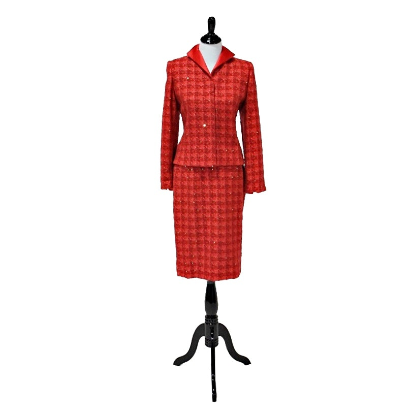 Women's Doncaster Red Tweed Suit with Gold Sequins and Satin Lining