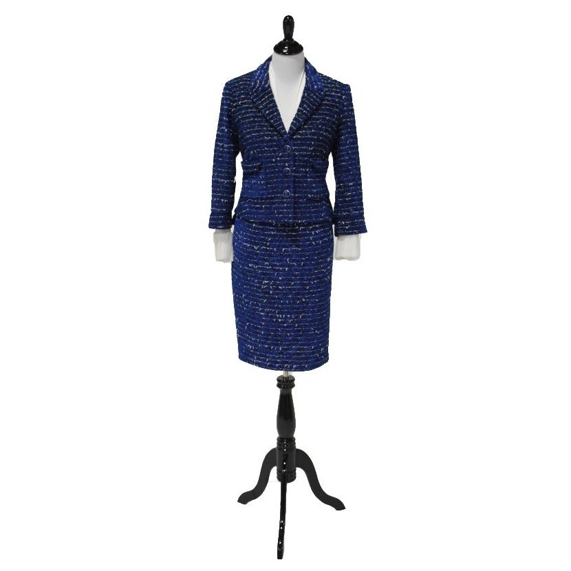 "Women's Indigo Blue Ribbed Chenille Suit and Silk Blouse Ensemble by ""Zenobia"""