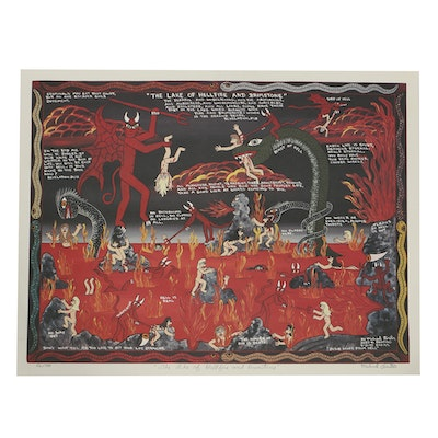 "Michael Finster Offset Lithograph on Paper ""The Lake of Hellfire and Brimstone"""