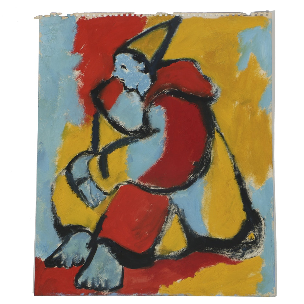 W. Glen Davis Abstract Gouache Painting on Paper of a Clown