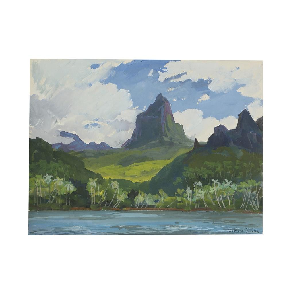 Ottmar Von Fuehrer Gouache Painting on Paper Coastal Landscape