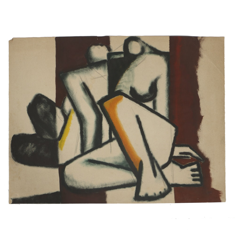 W. Glen Davis Gouache Painting on Paper Cubist Figure