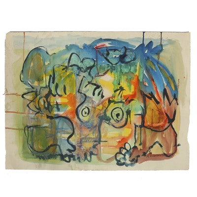 Martha Fairchild Watercolor Painting on Paper Abstract Composition