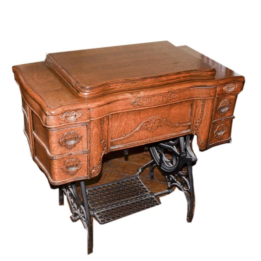 Antique White USA Rotary Sewing Machine