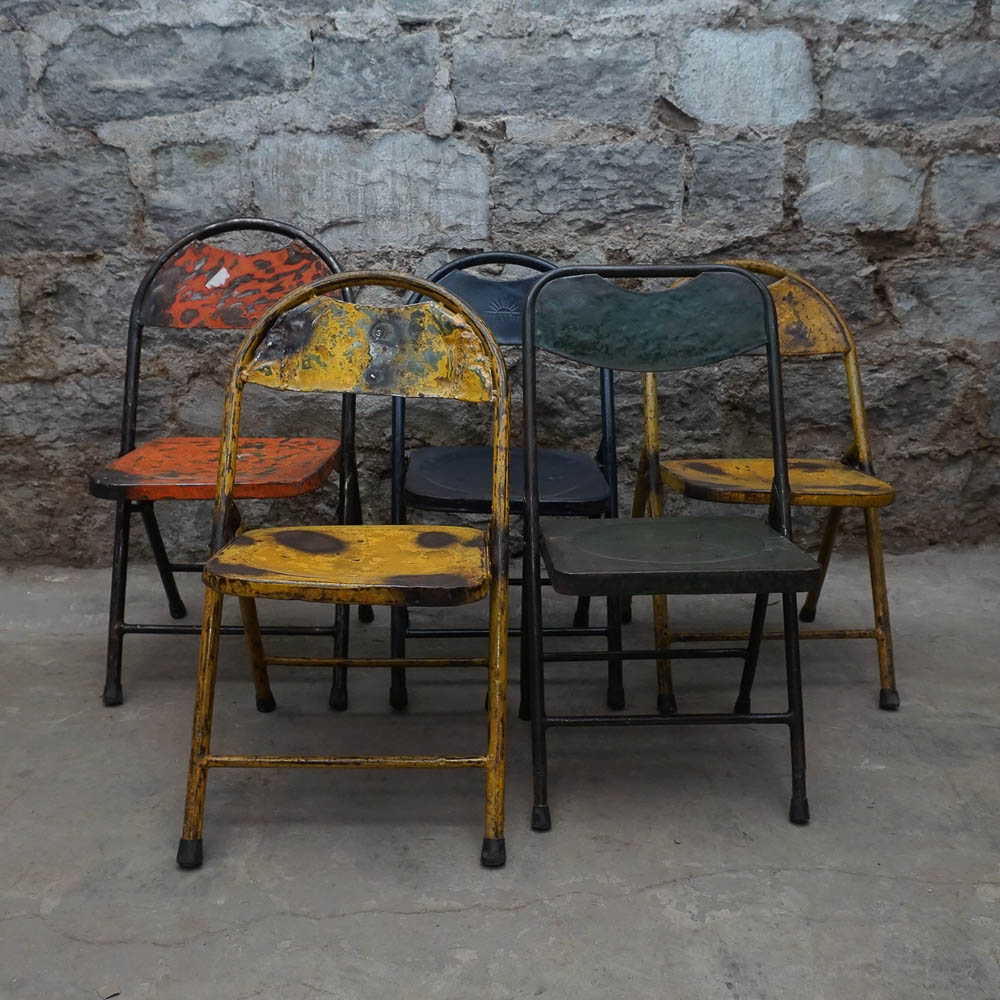distressed metal furniture. Brilliant Metal Five Painted And Distressed Metal Folding Chairs  Inside Furniture