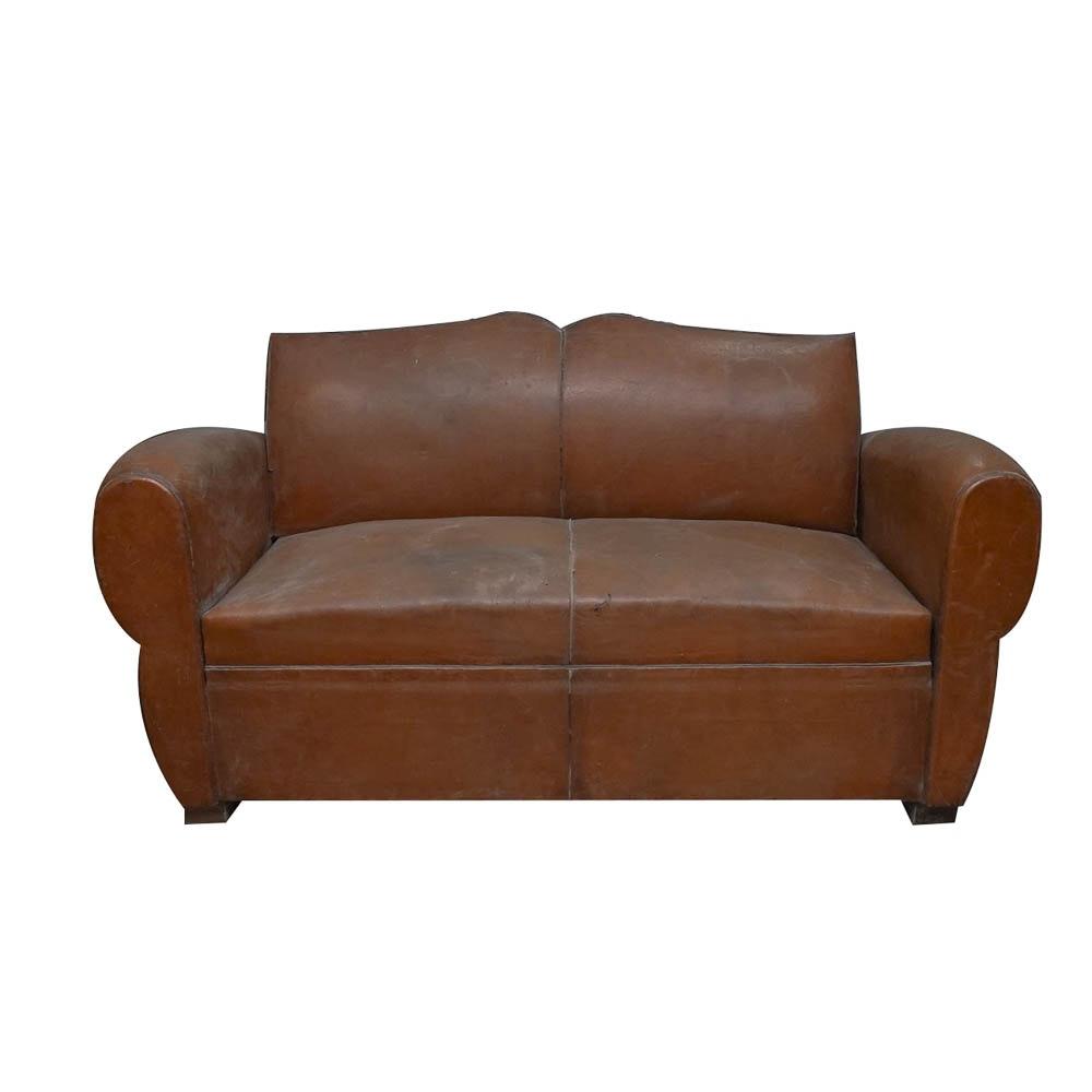 Vintage Leather Sofa with Sleeper Framing EBTH