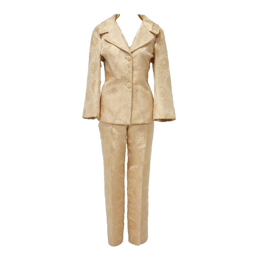 Dolce and Gabbana Champagne Damask Jacket and Pant Suit, Made in Italy