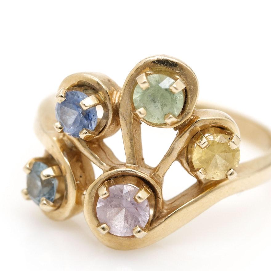 Blue Sapphire Multi Colored Ring