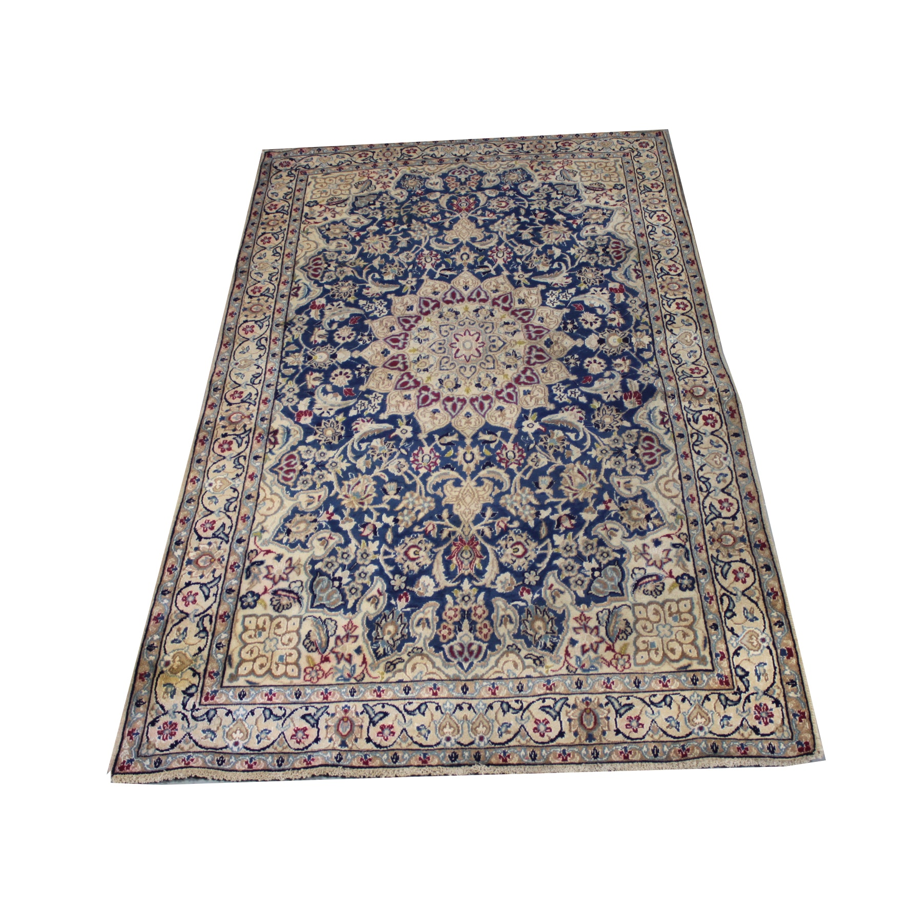 Vintage Hand-Knotted Persian Wool Nain Area Rug with Silk Accents