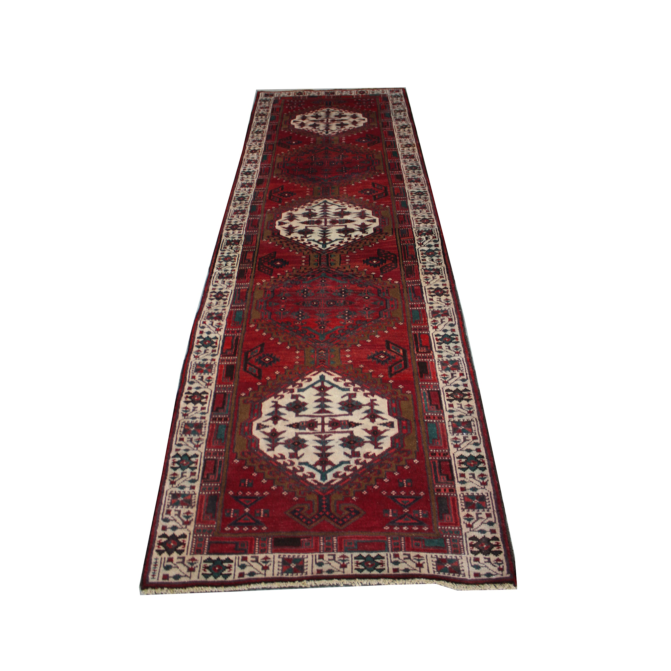 Hand-Knotted Romanian Carpet Runner in Persian Tribal Style.