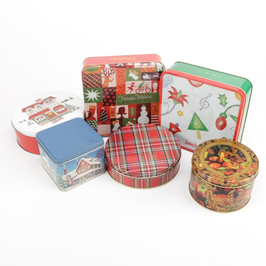 Christmas Cookie Tins Including Neiman Marcus