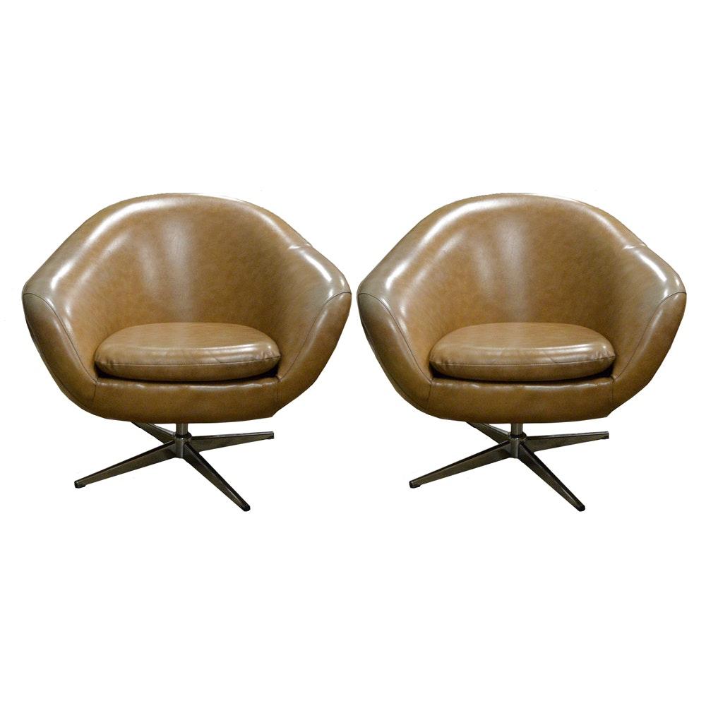 Vintage Mid Century Modern Brown Vinyl Swivel Chairs By Overman Of Sweden  ...