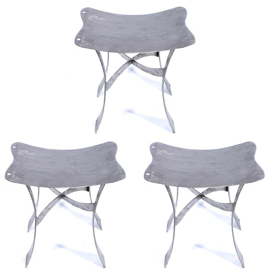 Country crafted wooden chair and stool ebth - Set Of Welded Steel Stools