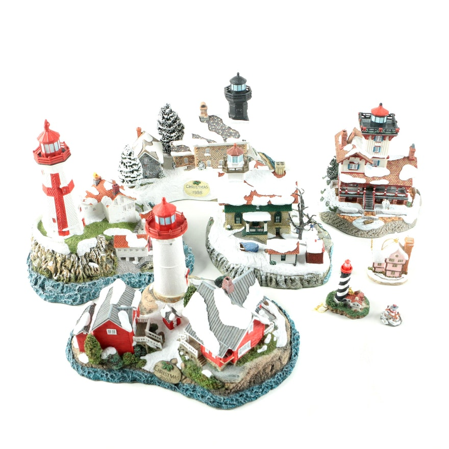 lighthouse christmas decor featuring harbour lights