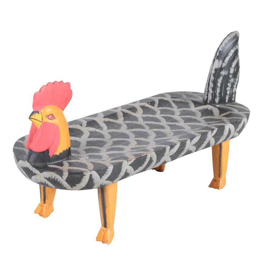 Country crafted wooden chair and stool ebth - Folk Painted Rooster Stool