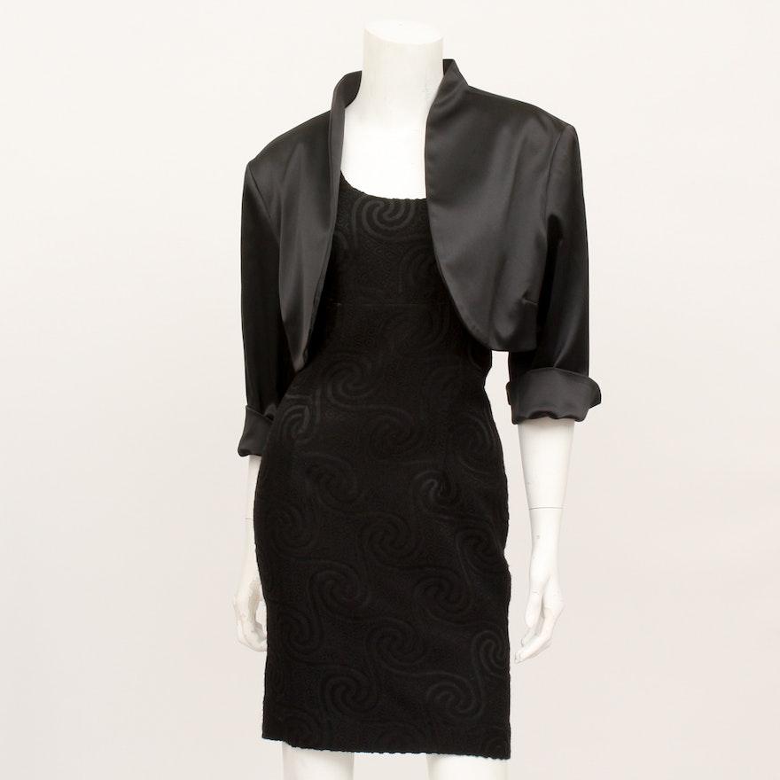 Nicole Miller Black Dress And White House Black Market Bolero Jacket