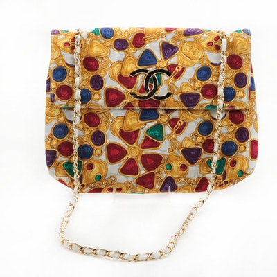 Vintage Circa 1980s Chanel Gripoix Jewelry Print Canvas Purse