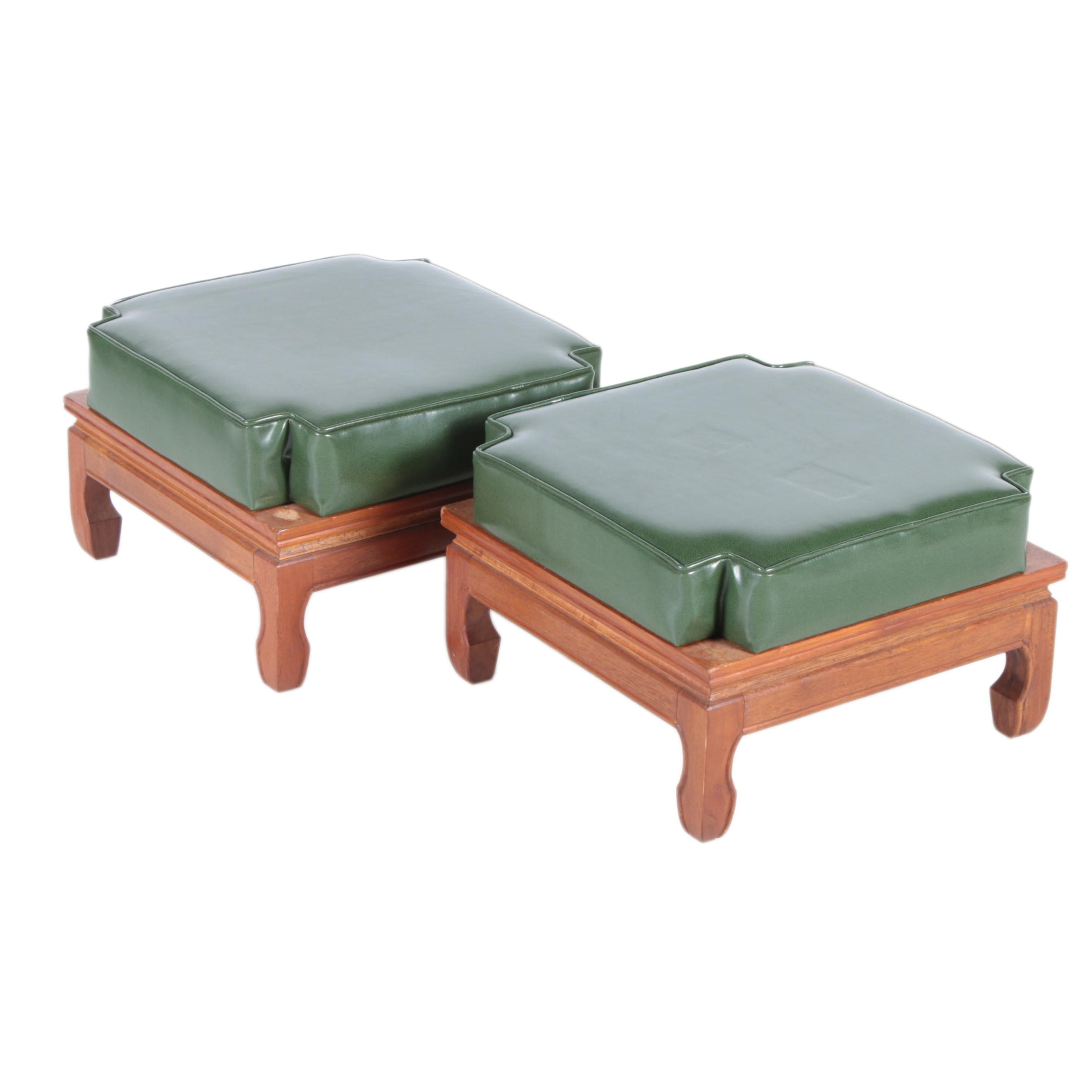 Pair of Mid-Century Asian Style Stacking Foot Stools