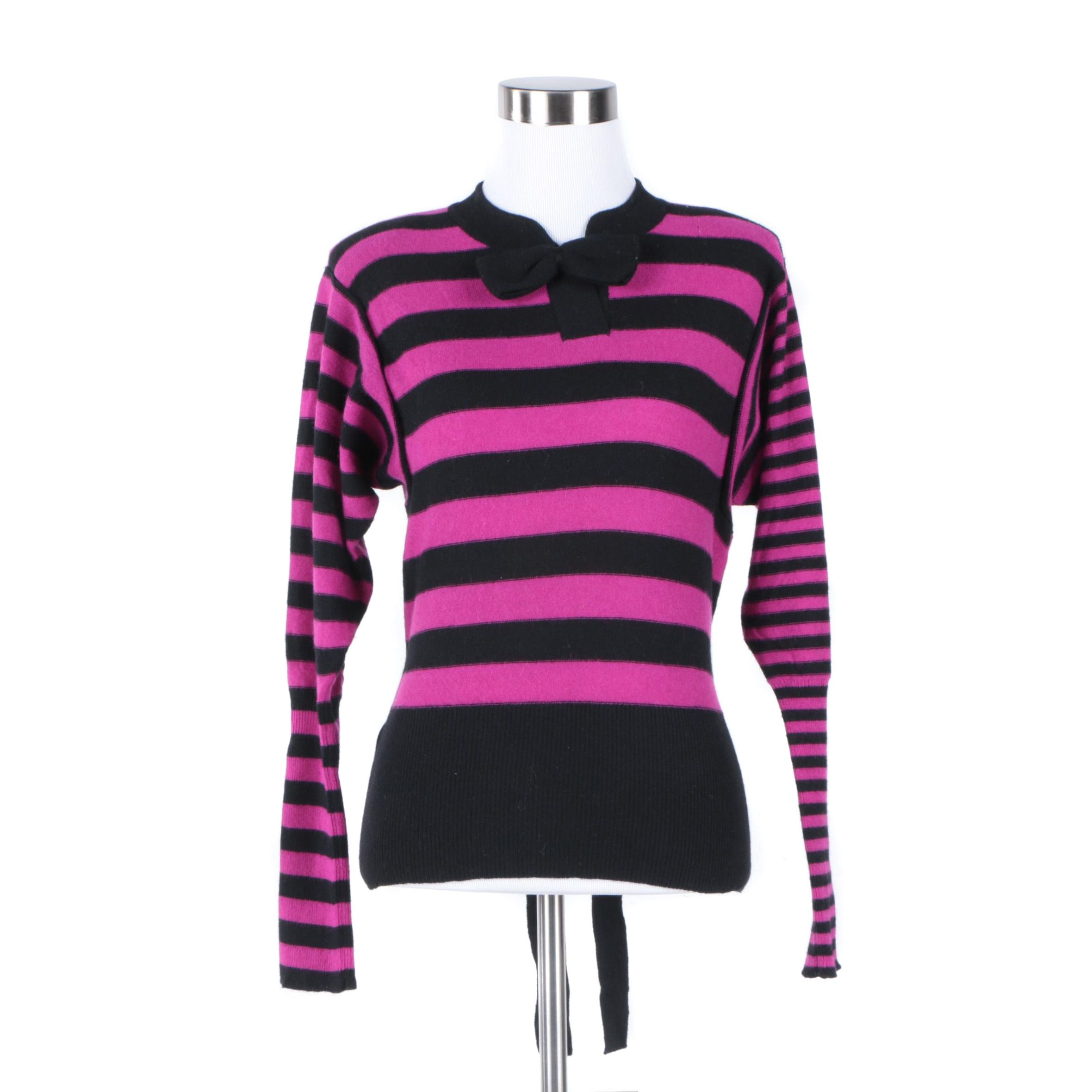 Women's Sonia Rykiel Black and Pink Sweater