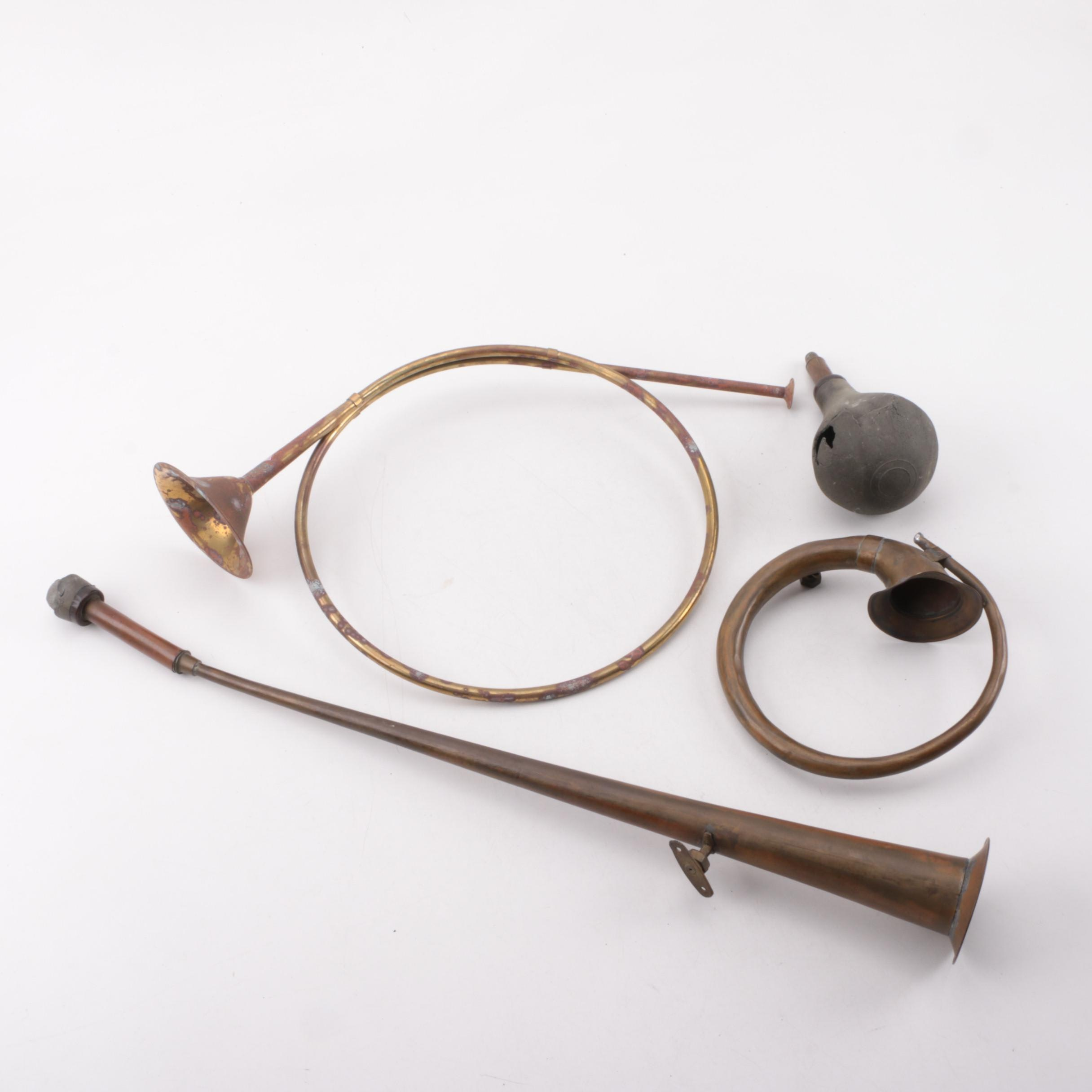 Vintage Brass Hunting and Car Horns